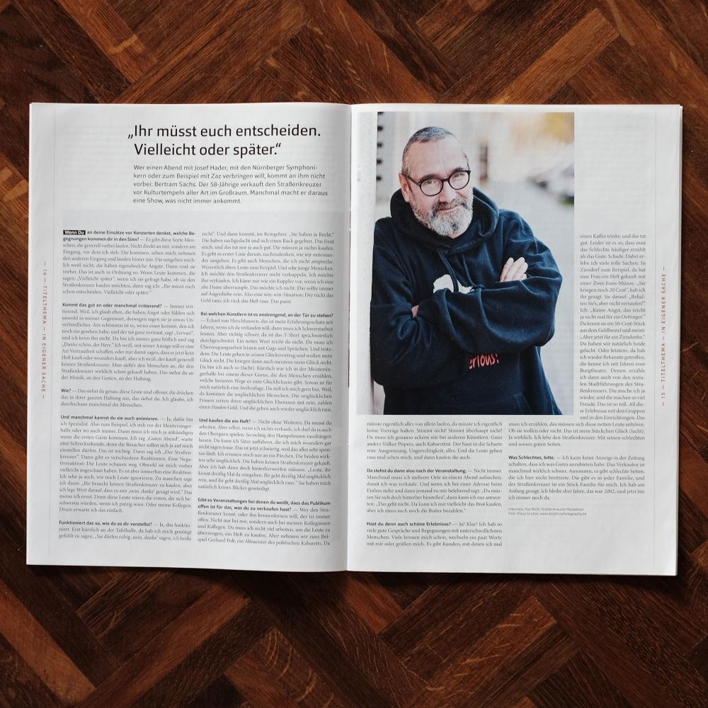 Fotograf Fürth, Veröffentlichung im Sozialmagazin Strassenkreuzer