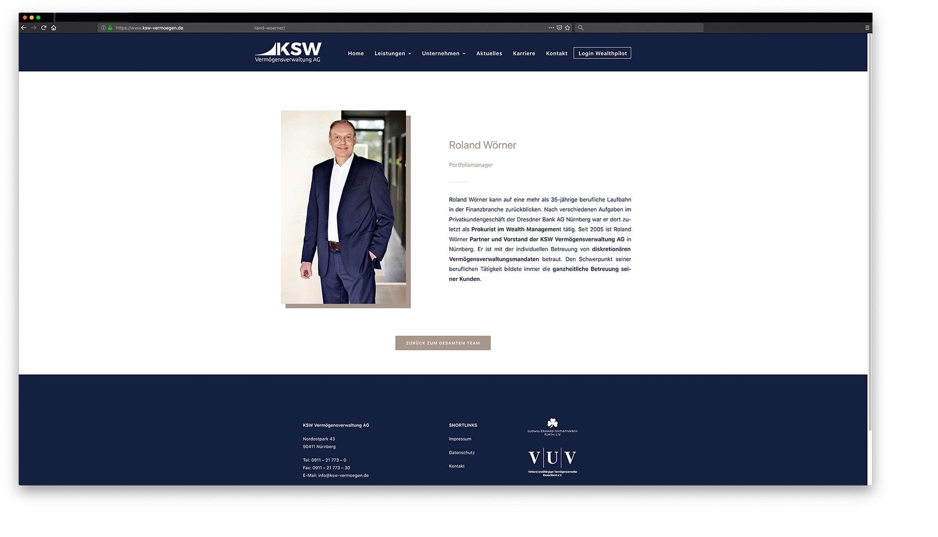 Unternehmensfotografie für KSW Vermögensverwaltung Nürnberg Fürth